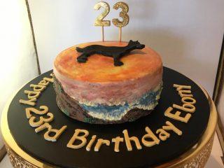 Kelpie Dog Ombre B'Day Cake