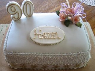 Traditional Fruit Cake Decorated with Fondant Flowers